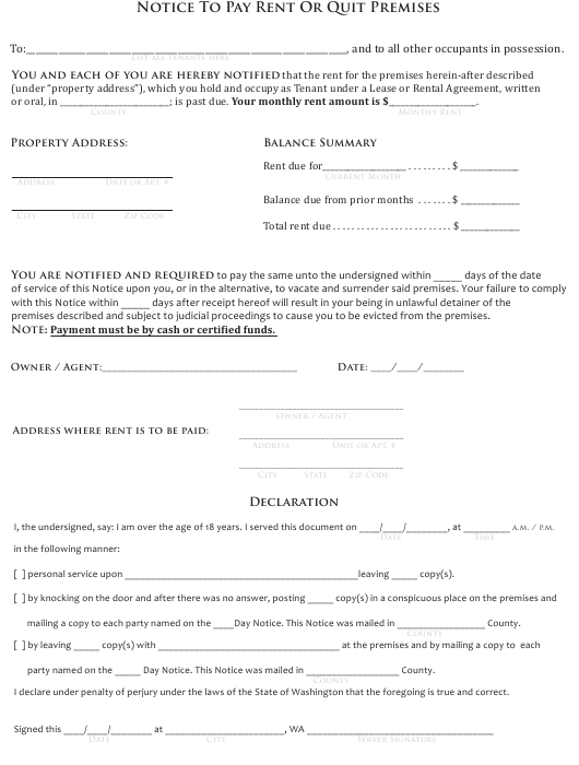 """Notice to Pay Rent or Quit Premises Form"" - Washington Download Pdf"
