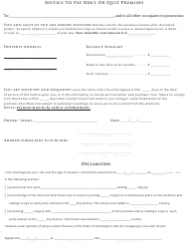 Notice to Pay Rent or Quit Premises Form - Washington