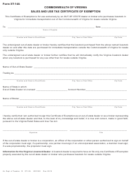 Form ST-14A Sales and Use Tax Certificate of Exemption - Virginia