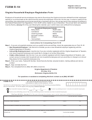Form R-1H Virginia Household Employer Registration Form - Virginia