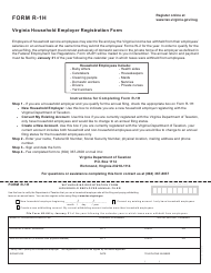 Form R-1H Virginia Household Employer Registration Form - Virginia