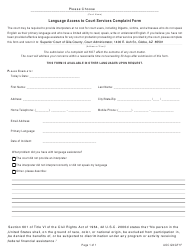 Form AOC GNGF 1F Language Access to Court Services Complaint Form - Gila County, Arizona