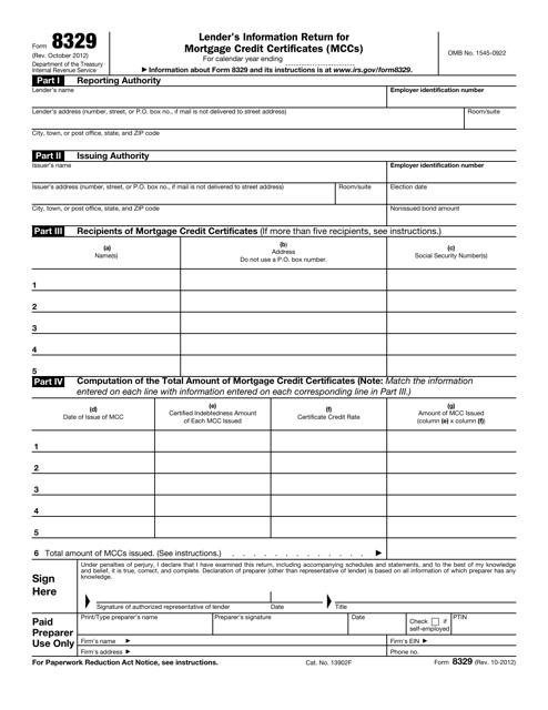 IRS Form 8329  Printable Pdf