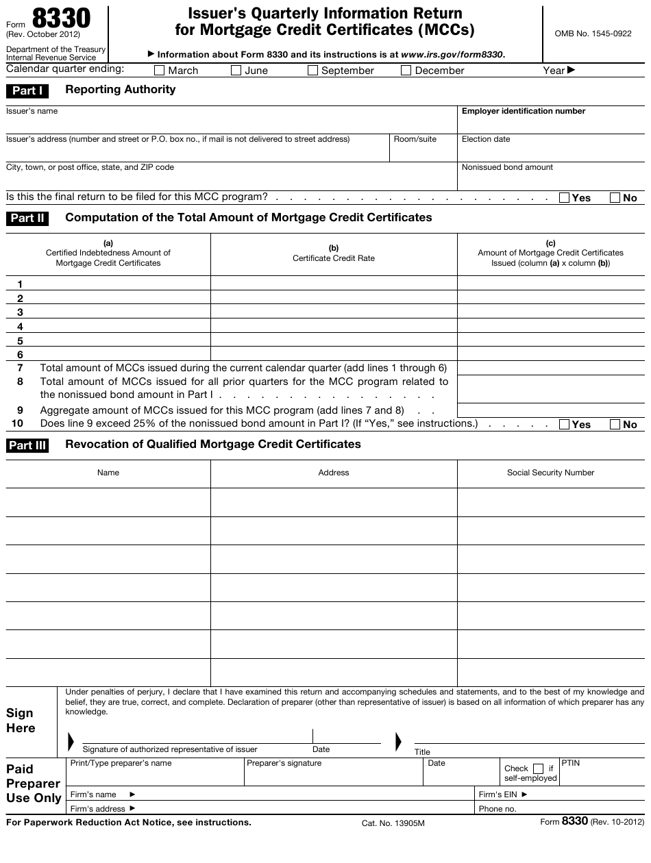 credit mortgage irs form return quarterly certificates mccs templateroller issuer template