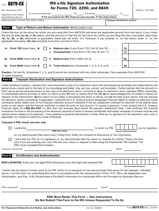 IRS Form 8879-EX  Printable Pdf