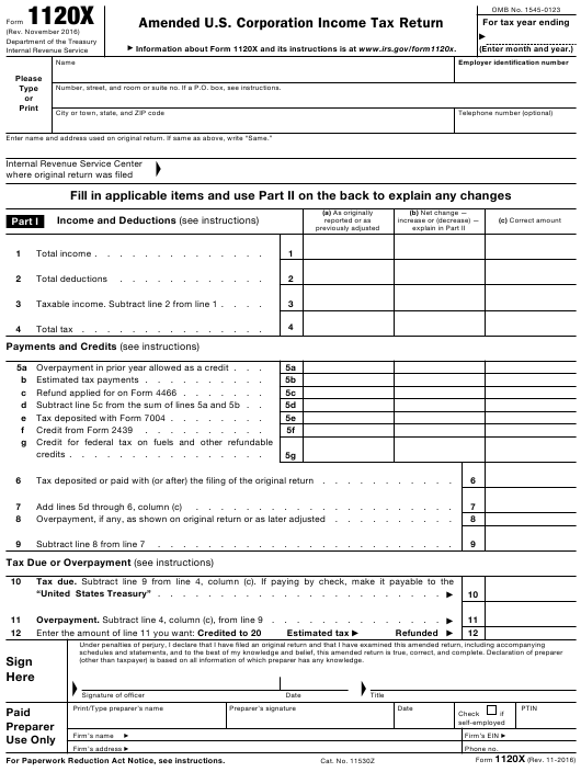 IRS Form 1120-X Fillable Pdf
