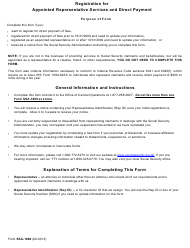 """Form SSA-1699 """"Registration for Appointed Representative Services and Direct Payment"""""""