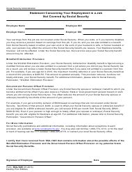 Form SSA-1945 Statement Concerning Your Employment in a Job Not Covered by Social Security