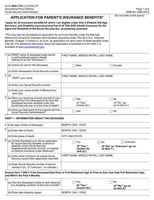 Form SSA-7-F6  Printable Pdf