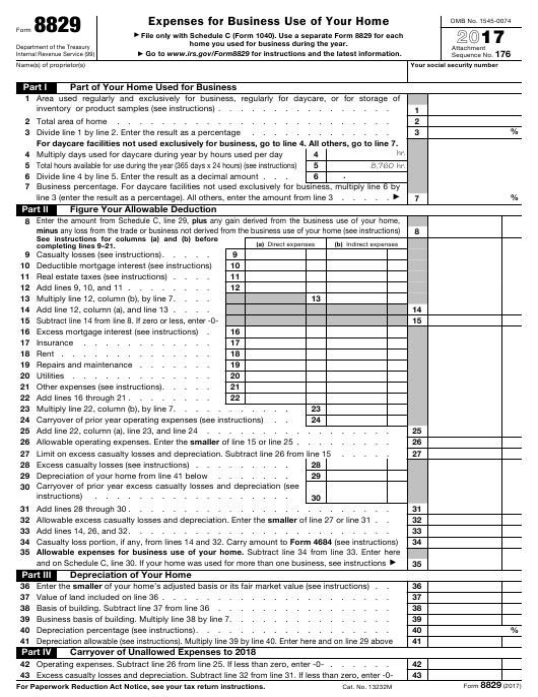 IRS Form 8829 2017 Fillable Pdf