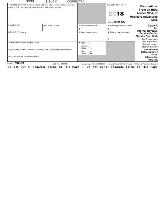 Irs Form 1099 Sa Download Fillable Pdf 2018 Distributions From An