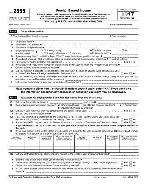IRS Form 2555 2017 Fillable Pdf