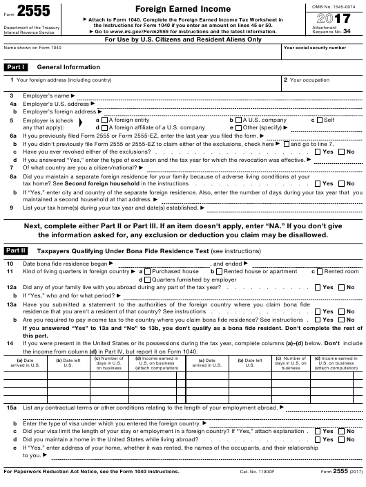 Irs Form 2555 Download Fillable Pdf 2017 Foreign Earned Income
