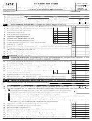 IRS Form 6252 2017 Installment Sale Income