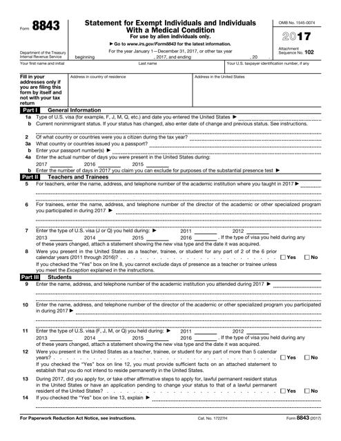 IRS Form 8843 2017 Fillable Pdf