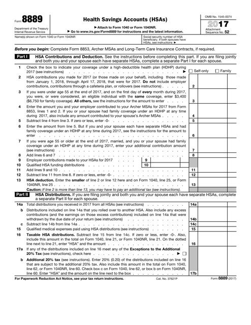 IRS Form 8889 2017 Fillable Pdf