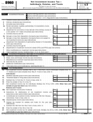 IRS Form 8960 2017 Net Investment Income Tax Individuals, Estates, and Trusts