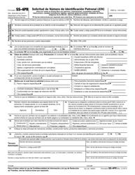 IRS Form SS-4PR Solicitud De Numero De Identificacion Patronal (Ein)