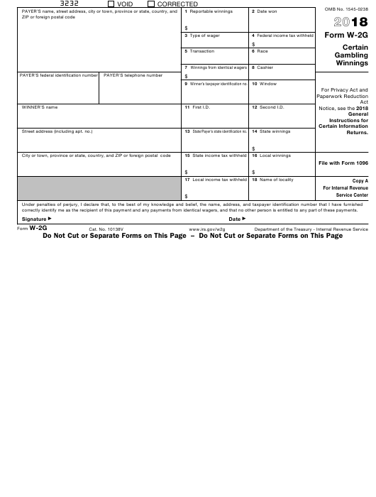 IRS Form W-2g 2018 Fillable Pdf