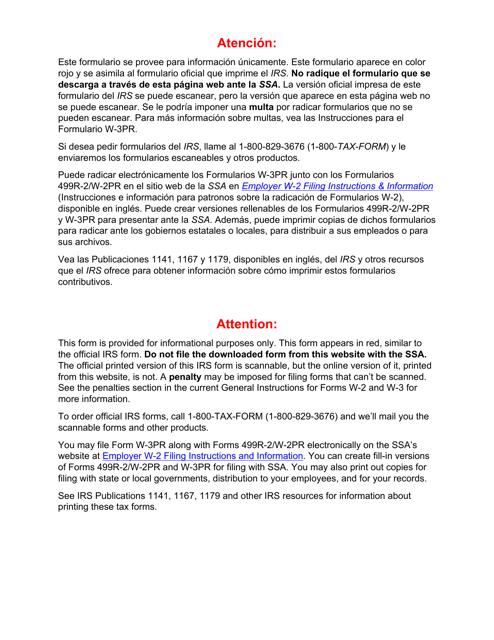 IRS Form W-3PR 2018 Printable Pdf