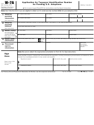 "IRS Form W-7A ""Application for Taxpayer Identification Number for Pending U.S. Adoptions"""