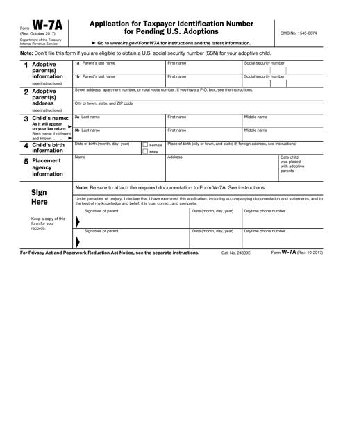 IRS Form W-7A Printable Pdf