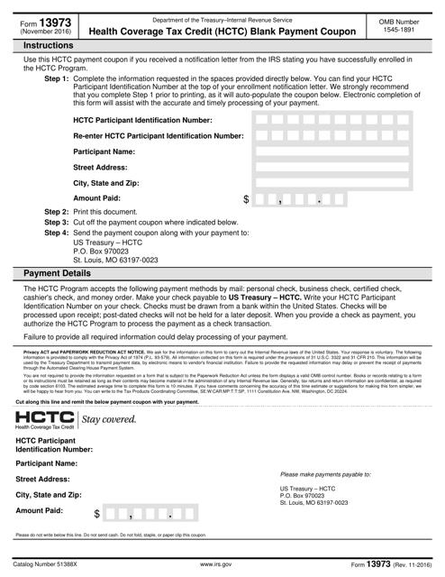 IRS Form 13973  Printable Pdf