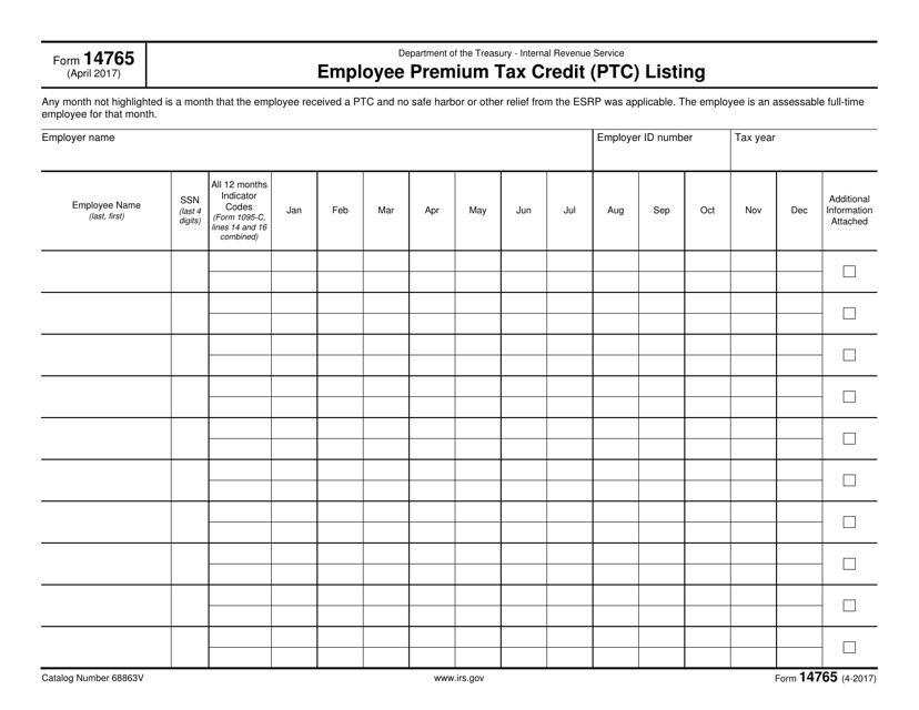 IRS Form 14765 Printable Pdf