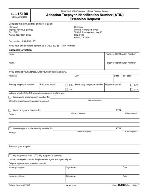 IRS Form 15100 Printable Pdf