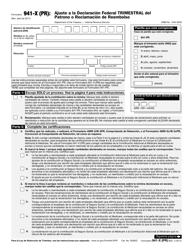 """IRS Formulario 941-X (PR) """"Ajuste a La Declaracion Federal Trimestral Del Patrono O Reclamacion De Reembolso"""" (Puerto Rican Spanish)"""