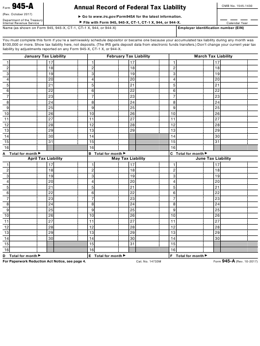 IRS Form 945-A Fillable Pdf