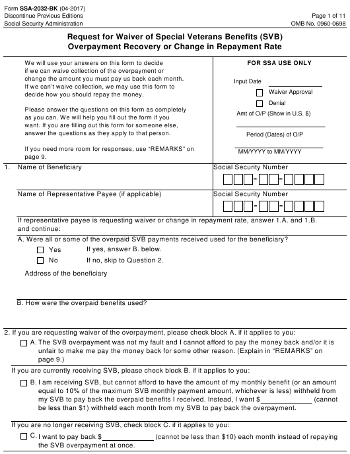 Form SSA-2032-BK  Printable Pdf