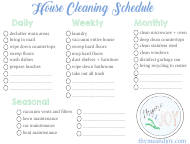 """House Cleaning Schedule Template - Daily, Weekly, Monthly, Seasonal - Thyme & Joy"""