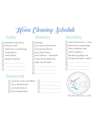 House Cleaning Schedule Template - Daily, Weekly, Monthly, Seasonal - Thyme & Joy