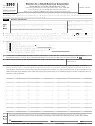 IRS Form 2553 Election by a Small Business Corporation