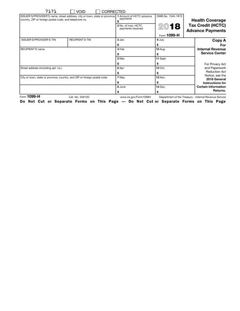 IRS Form 1099-H 2018 Printable Pdf