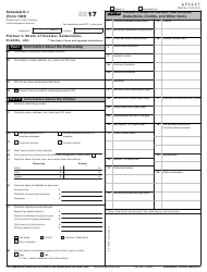 IRS Form 1065 2017 Schedule K-1 - Partner's Share of Income, Deductions, Credits, Etc.