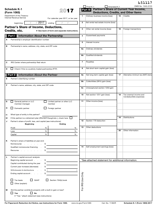 Irs Form 1065 Download Fillable Pdf 2017 Schedule K 1 Partners