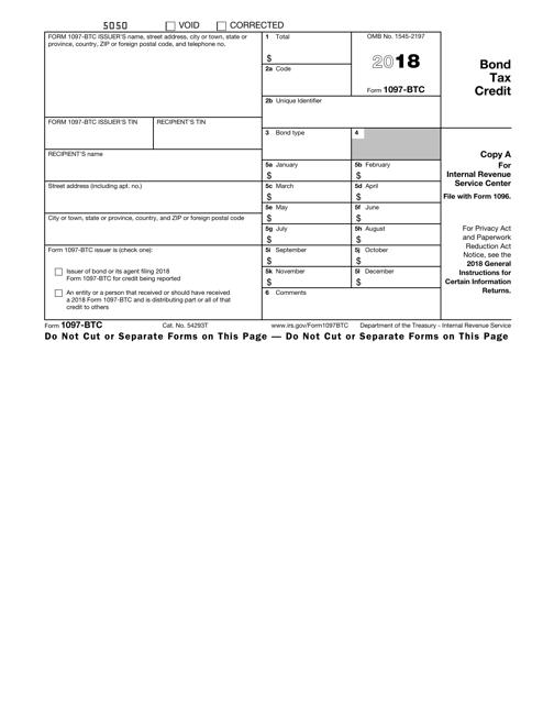 IRS Form 1097-BTC 2018 Fillable Pdf