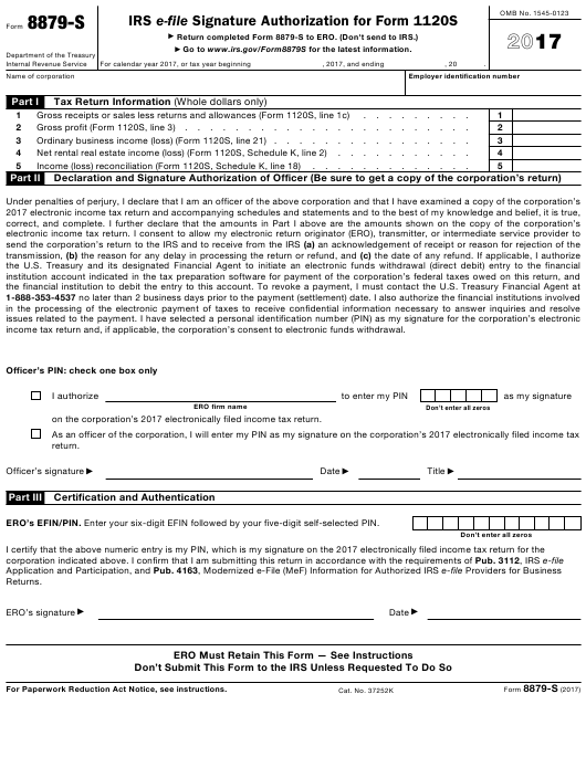 IRS Form 8879-S Download Fillable PDF 2017, IRS E-File Signature