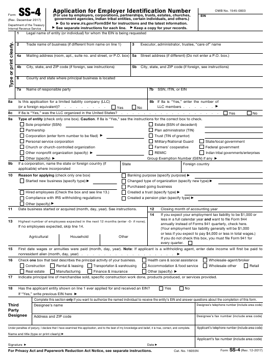 IRS Form SS-4 Fillable Pdf