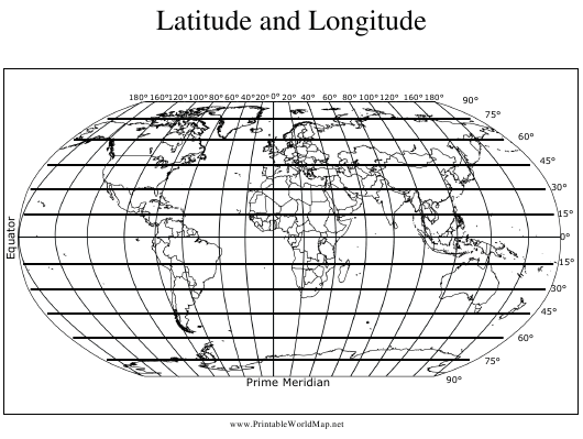 """Longitude and Latitude World Map Template"" Download Pdf"
