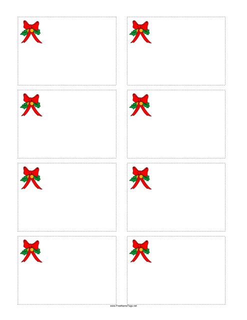 """Christmas Bow Name Tag Template"" Download Pdf"