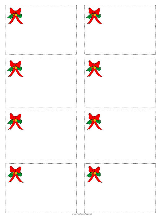 Christmas Bow Name Tag Template Pdf