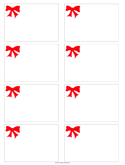 """""""Red Bow Name Tag Template"""" Download Pdf"""