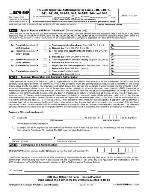 IRS Form 8879-EMP  Printable Pdf