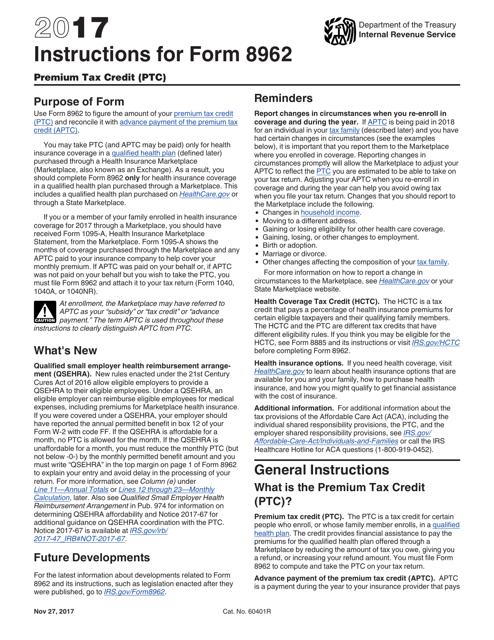 IRS Form 8962 2017 Printable Pdf