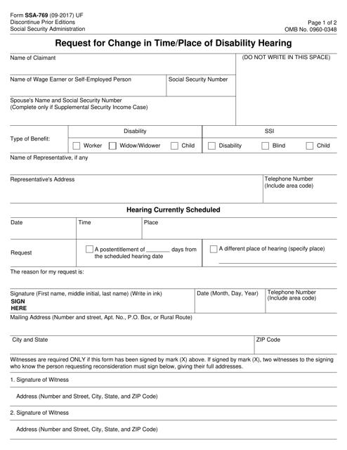 Form SSA-769  Printable Pdf