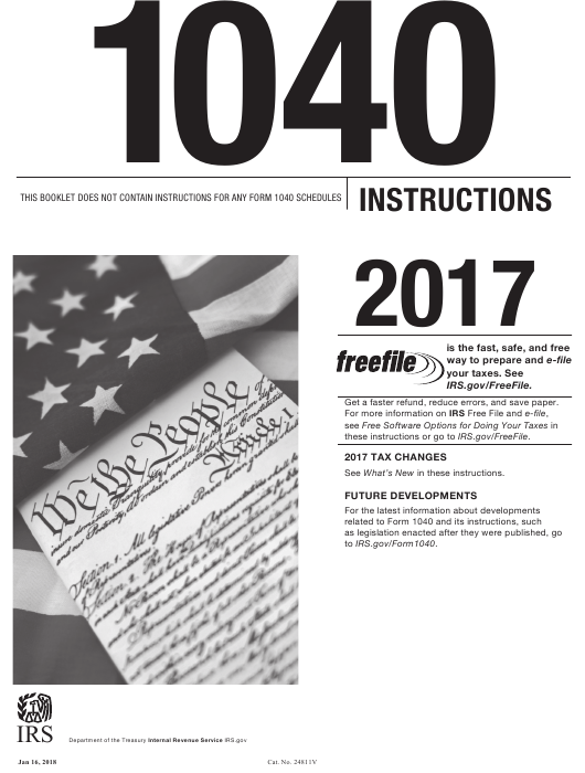 Instructions For Irs Form 1040 Us Individual Income Tax Return