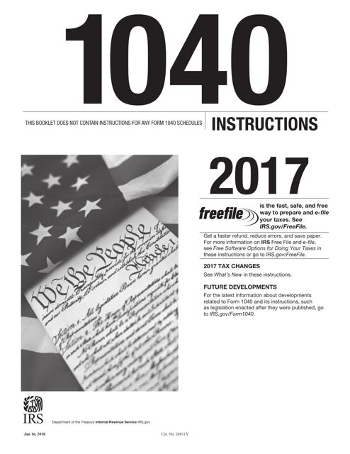 IRS Form 1040 2017 Printable Pdf
